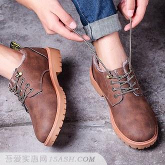 男士加绒英伦工装鞋