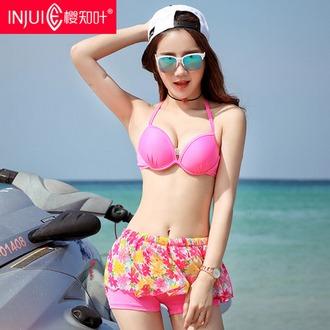 樱知叶2017夏季新款 温泉拼接连体裙裤一字领平角分体女士泳衣