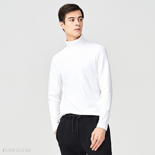 马威长袖高领T恤男式,高领纯棉打底衫