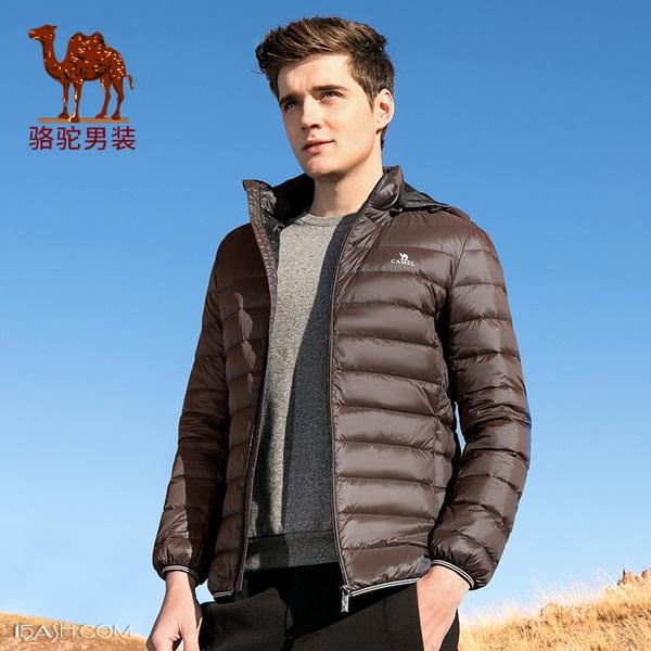 骆驼男装 男士90%白鸭绒短款修身羽绒