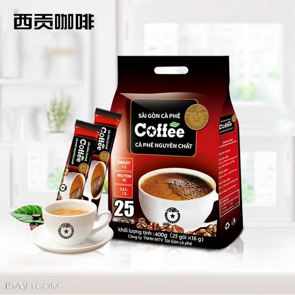 越南进口西贡400g速溶咖啡,原味25条袋装