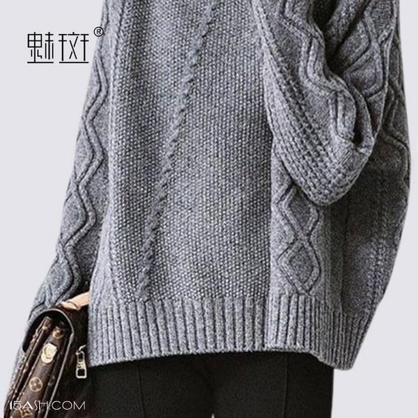 魅斑高领菱形慵懒风毛衣