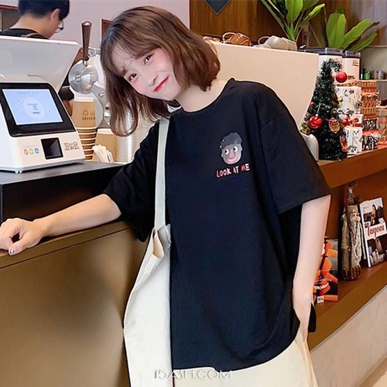 韩版网红白色t恤女短袖宽松百搭港风上衣