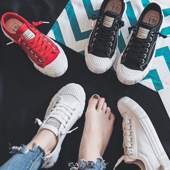 韩版帆布鞋复古港风平底运动小白鞋 券后45元